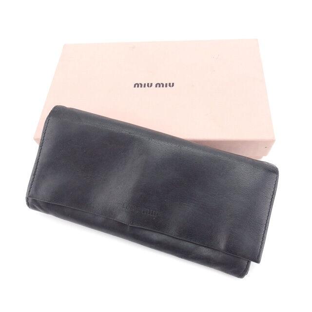 miumiu Wallet Purse Long Wallet Logo Black Woman Authentic Used Y4280