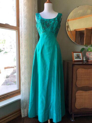 50s Dress Will Steinman Teal Green Silk Beaded Gow