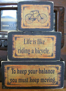 Life-is-Like-Riding-Bicycle-Primitive-Rustic-Stacking-Blocks-Wooden-Sign-3pc-Set