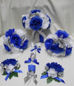 18 Piece Package Silk Flower Wedding Bridal Bouquet Royal Blue