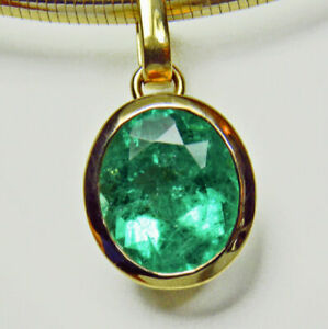 5-75Ct-Fine-Doublet-Green-Oval-Emerald-Solitaire-Pendant-18K-Yellow-Gold-Over