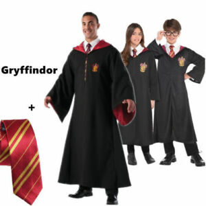 Harry Potter Hogwarts Robe Tie Set Gryffindor Adult Kids Cloak Xmas ... f127d22383a5