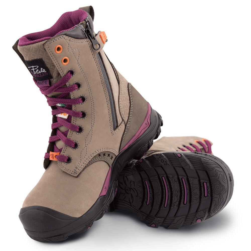 Para mujer dedos de los los los pies Acero Impermeable botas De Trabajo   aprobado por CSA   gris  servicio de primera clase