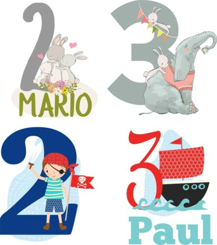 Imagen de estribo aplicación cumpleaños jóvenes nombre número para todos los colores barco pirata