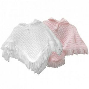 KNITTED-BABY-GIRL-HOODED-PONCHO-SHAWL-CARDIGAN-WRAP-BABYTOWN-NB-24MTH