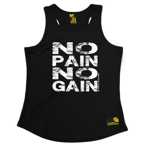 No Pain No Gain SWPS WOMENS DRY FIT VEST birthday workout gym training fitness