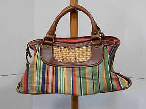 Image Is Loading Fossil Modern Vintage Purse Canvas Amp Straw Striped