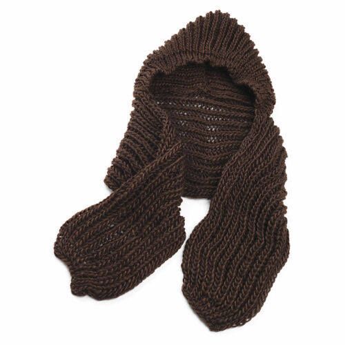 THICK WINTER PLAIN KNITTED STYLE HAT /& SCARF ALL IN ONE NAVY BROWN RED