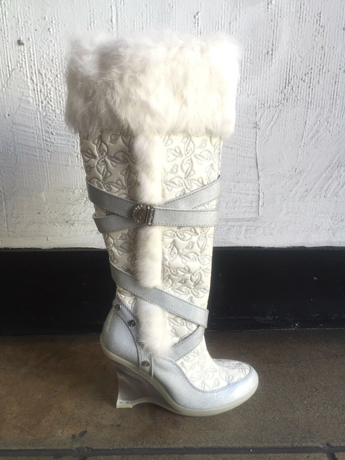 Women's Baby Phat White/Silver Fur 14