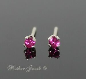 2mm-REAL-SOLID-925-STERLING-SILVER-Girls-Ruby-Red-CZ-Earrings-Mens-Ladies-Studs