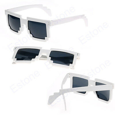 Retro Trendy Novelty Unisex Cool Pixel Glasses Pixelated Style Square Sunglasses