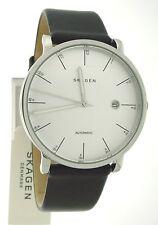 SKAGEN Hagen Steel CaseSee-Thru back Black Leather Automatic Men's Watch SKW6302