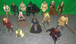 Star-Wars-Jedi-Sith-figurine-lot-x14-Mace-Windu-Luke-Skywalker-utilise