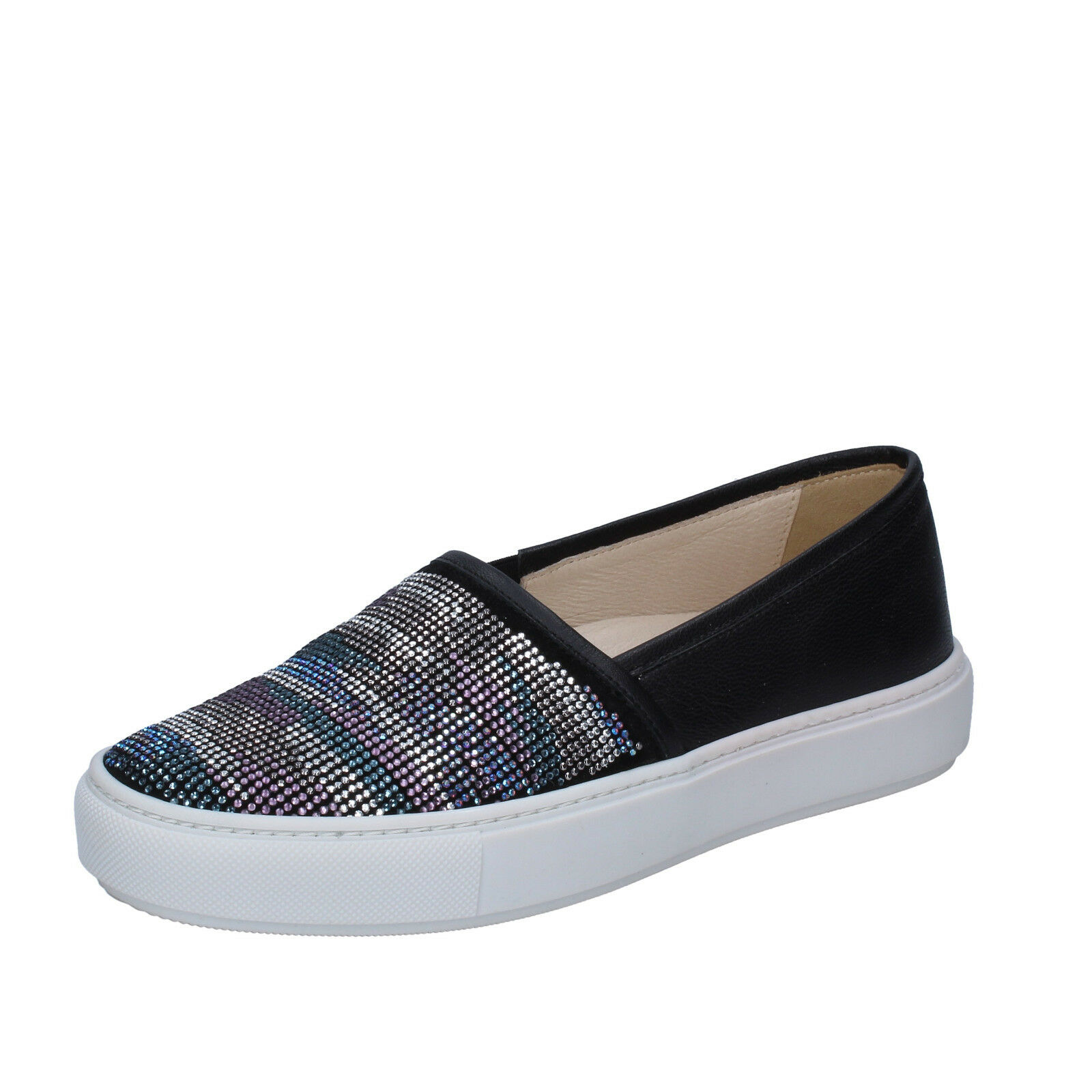 Wouomo scarpe JANET SPORT 6 (EU 36) slip on nero leather suede strass BT533-36