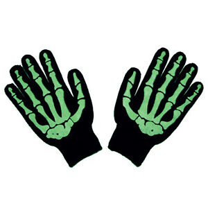 Glow-In-The-Dark-Skeleton-Bones-Gothic-Horror-Punk-Misfit-Mens-Black-Work-Gloves