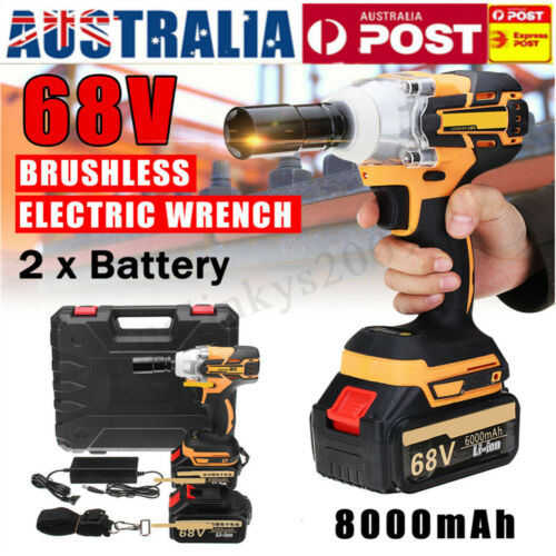 68V 8000mAh Cordless Electric Impact Wrench Brushless Gun Rattle Torque Driver