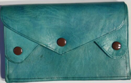 Handmade high quality large coloured leather wallet with 4 compartments.