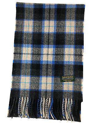 100% Puro Agnello Sciarpa Blu E Grigio Quadri - Made In Scotland