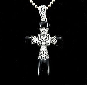 Handcrafted-Solid-925-Sterling-Silver-Genuine-BLACK-ONYX-Filigree-Cross-Pendant