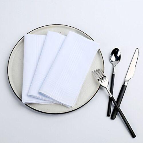 "13x Soft Handkerchief Plain White 100/% Cotton Mens /& Women Handkerchiefs 16/""X16/"""