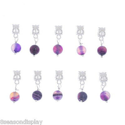 20 Purple Agate Onyx Dangle Beads Fit Charm Bracelet