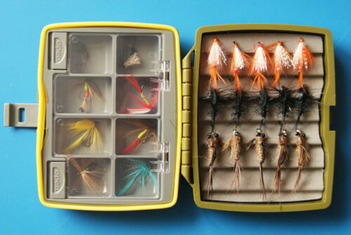 Details about  /New Tackle Waterproof Fly Box Packed w// 23 Assorted Nymphs Trout Flies Lb56