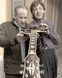 "LES PAUL & PAUL McCARTNEY SINGER SONGWRITERS 8x10"" HAND COLOR TINTED PHOTOGRAPH"
