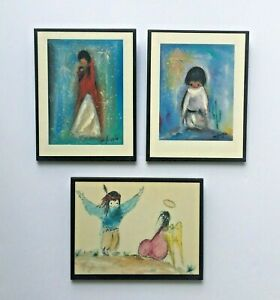 3 Vtg Ted De Grazia Art Prints Laminated Wall Plaques Nav Madonna Wings Blue Boy