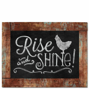 Framed-Wooden-Chalkboard-Sign-Wall-Plaque-RISE-and-SHINE-Good-Morning-Rooster