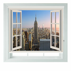 Window New York Empire State Printed Photo Black Out