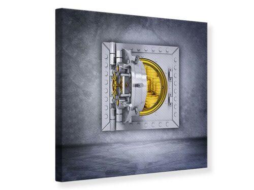 Wandbild Gefüllter Tresor Leinwand Acrylglas Aluminium Metallic Hartschaum