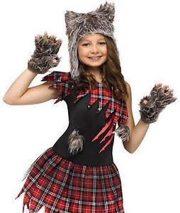★ Funworld Wolfsfrau Wolf Werwolf, Kinder kostüm 104,110,116,122,128 Tierkostüm