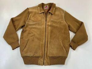Vintage-Miller-Outerwear-Mens-XL-Suede-Front-Sweater-Jacket-Tan-Full-Zip