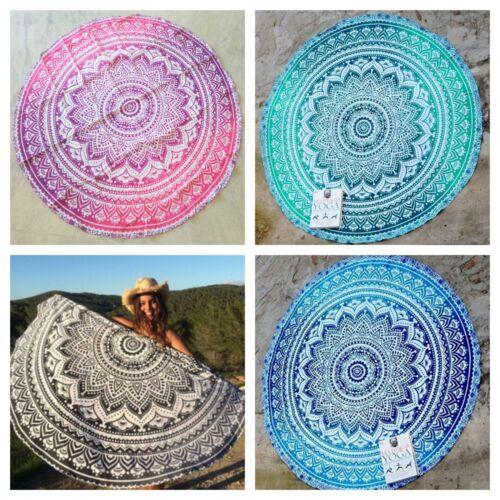 Indian Ombre Round Mandala Beach Throw Hippie Yoga Mat Bohemian Roundie Tapestry