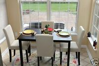 5pc Espresso Dining Room Kitchen Set Table 4 Ivory White Parson Chairs 5 Piece