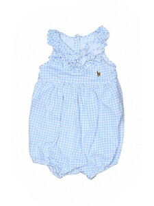 Baby-Girl-Ralph-Lauren-Blue-White-Gingham-Bubble-Romper-Size-3-Months
