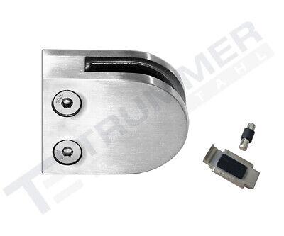 Glashalter 45x63mm Edelstahl Halbrund V2A Klemmhalter Glasklemme Sicherung Flach
