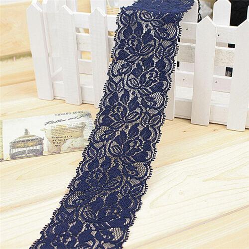 1 yard 6,5 cm Blume Stretch Lace Trim Nähen Kleid Rock Decor DIY Band ZP