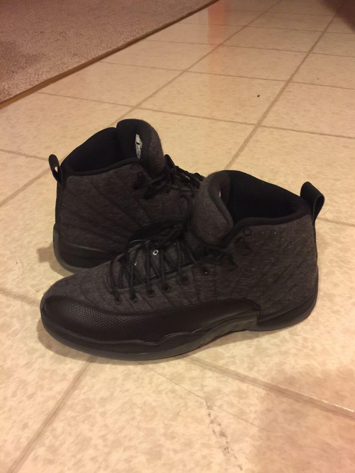 Mens Air Jordan Retro 12 Wool Dark Grey Metallic Silver 852627-003 Nike Black Wild casual shoes