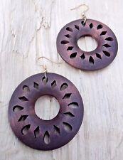 Wooden Disc Circle Diamond Cutout Large Hook Earrings 4.5cms Diameter,Dark Brown