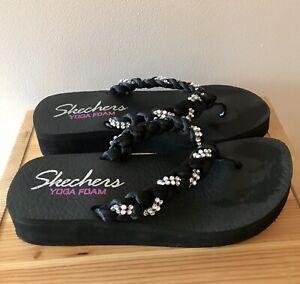 skechers yoga foam wedge flip flops
