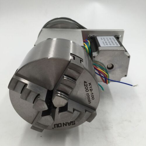 Hot Rotary Axis 4th Axis Dividing Head 4 Jaw 100mm Lathe Chuck Motor+Tailstock-6