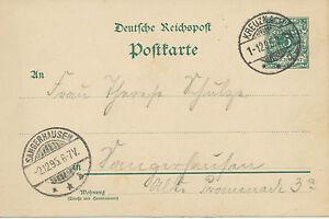DT-REICH-KREUZNACH-selt-K2-a-5-Pf-Kab-GA-Postkarte-nach-SANGERHAUSEN-1895