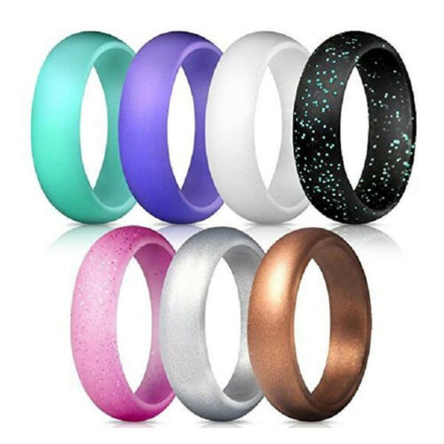 Flexible Silicone Ring Men Women Rubber Wedding Band 7//10 PACK Set Size 5-14#