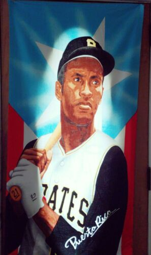 """Roberto Clemente Towel """"Puerto Rico"""" 58 Inches X 29 1//2 Inches Beach towel"""
