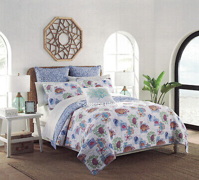 3-pc ☆ TROPICAL FISH SEAHORSES ☆ Twin Quilt Set SIGRID OLSEN Coastal Beach House
