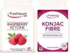 60 Pure Raspberry Ketones & 180 Konjac Glucomannan Ultra Strong Diet Slim Pills