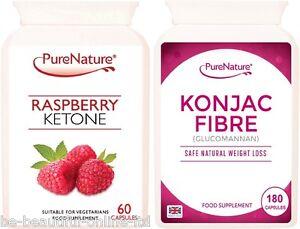 60-Pure-Raspberry-Ketones-amp-180-Konjac-Glucomannan-Ultra-Strong-Diet-Slim-Pills