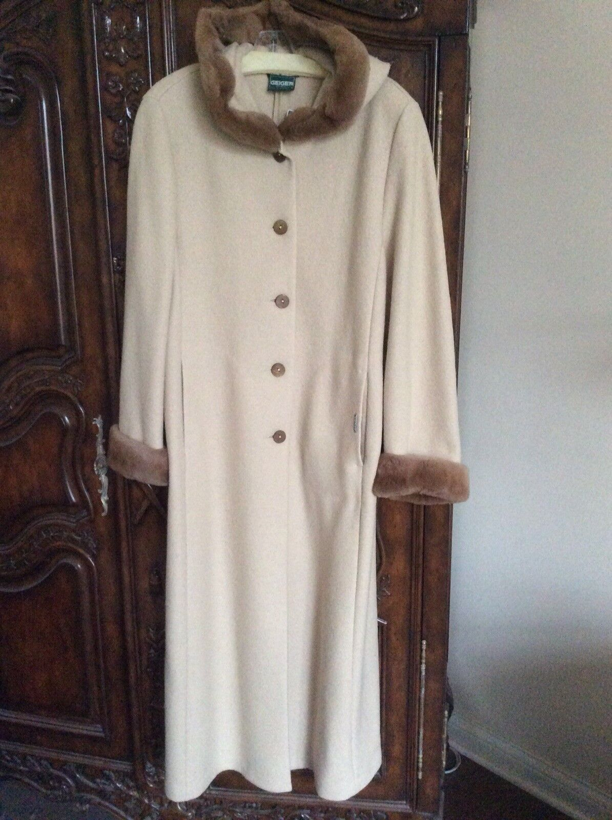 NEW Geiger of Austria Boiled Wool & Real Fur Hooded Coat Size 42