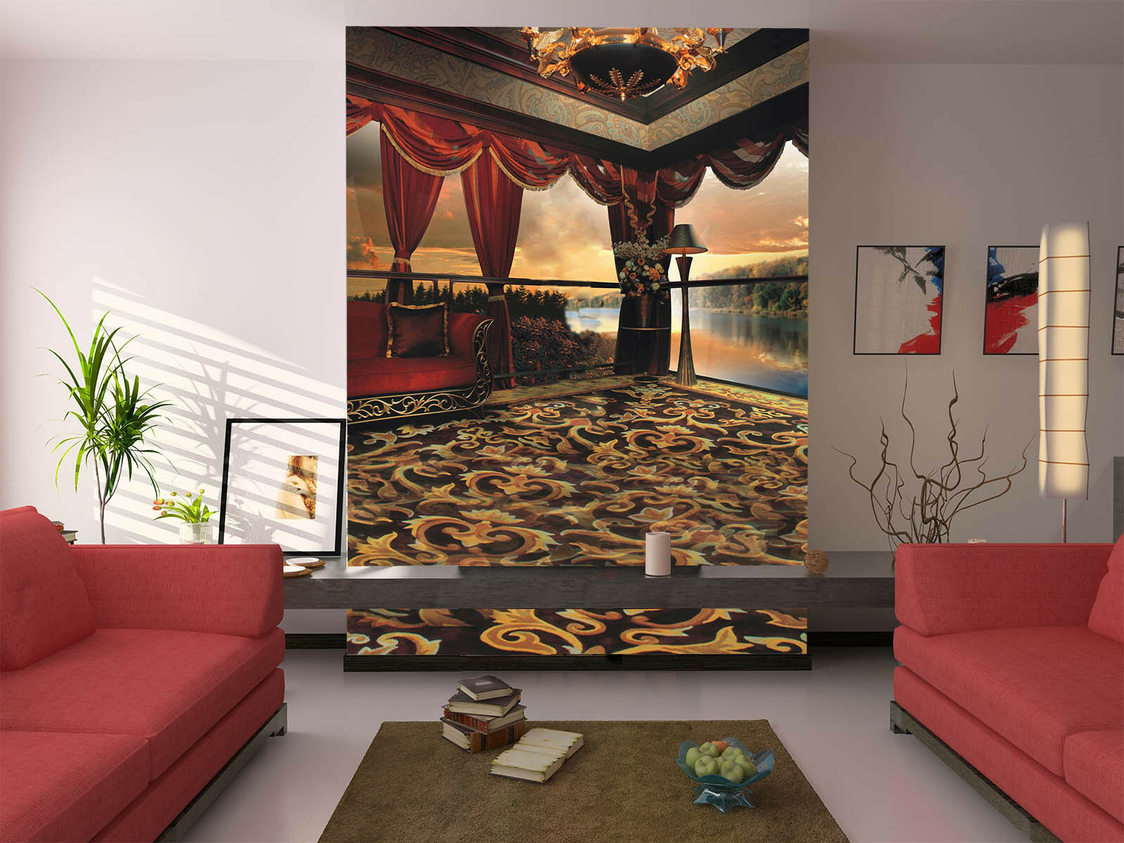3D Balcony Sea 4010 Wallpaper Murals Wall Print Wall Mural AJ WALLPAPER UK Lemon